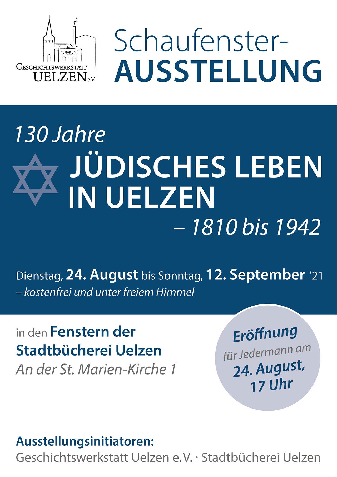 Plakat Ausstellung 130 Jahre Jüdisches Leben in Uelzen